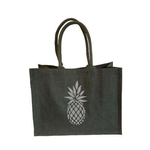 Sac cabas toile de jute gris foncé ananas argent pailleté