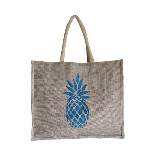 Sac cabas toile de jute gris clair ananas bleu pailleté