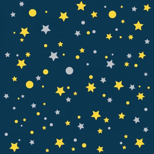 Papier peint bleu marine étoiles de la galaxie jaunes
