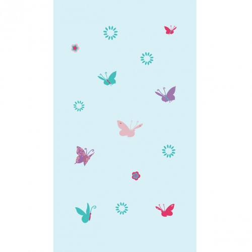 Papier peint papillons multicolores fond bleu