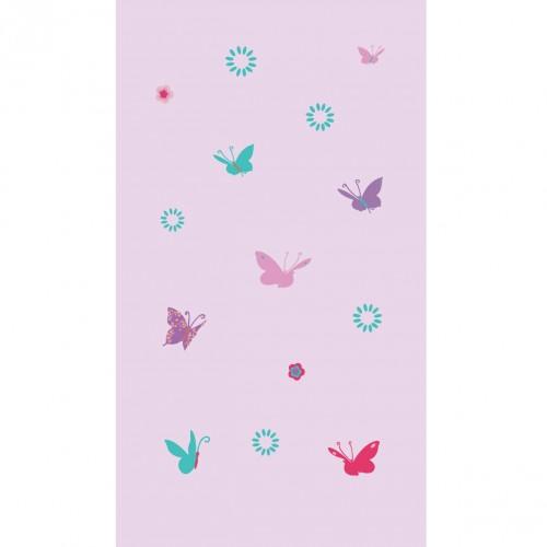 Papier peint papillons multicolores fond mauve