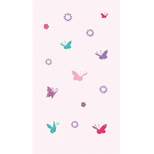 Papier peint papillons multicolores fond rose