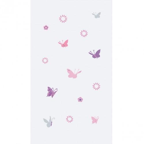Papier peint papillons roses et gris fond gris