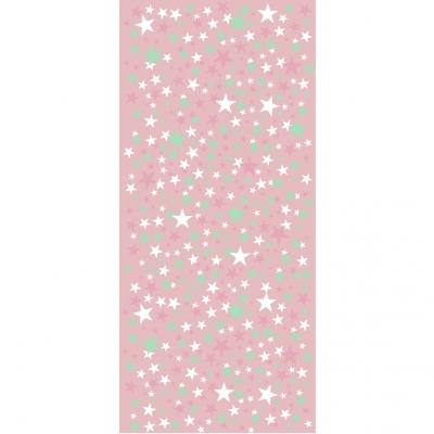 Papier peint étoiles fond rose collection Origami