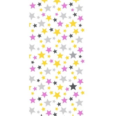 Papier peint étoiles jaunes, fushia et grises
