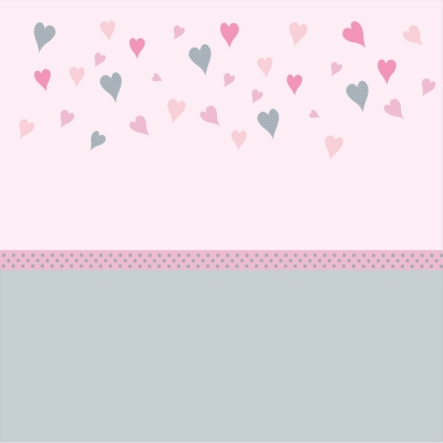 Papier peint coeurs rose et gris bas gris
