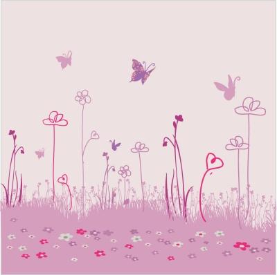 Papier peint décor jardin aux papillons L