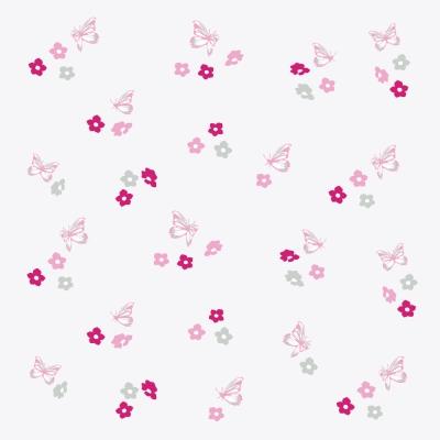 Papier peint fleurs et papillons roses et gris fond blanc