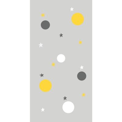 Papier peint gris bulles et étoiles jaunes, blanches et grises