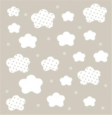papier peint nuages blancs fond beige lili pouce boutique d co chambre b b enfants et. Black Bedroom Furniture Sets. Home Design Ideas