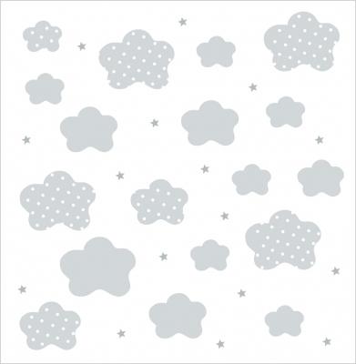 papier peint nuages gris fond blanc lili pouce. Black Bedroom Furniture Sets. Home Design Ideas