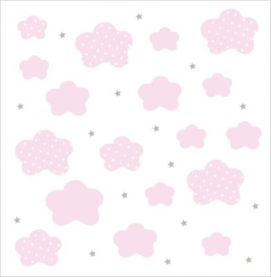 Papier peint nuages roses fond blanc lili pouce for Papier peint nuage