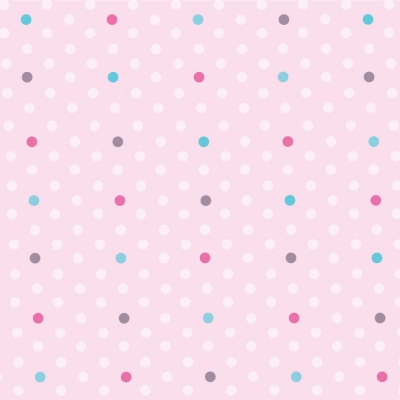Papier peint petits pois roses, turquoise et fushia