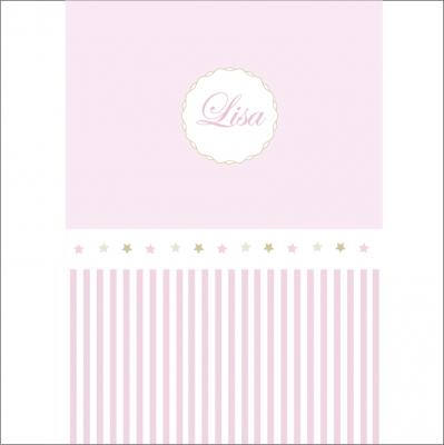 Papier peint rayé rose et étoiles assorties personnalisable