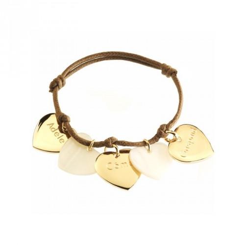 Bracelet Petits Coeurs- plaqué or et nacre
