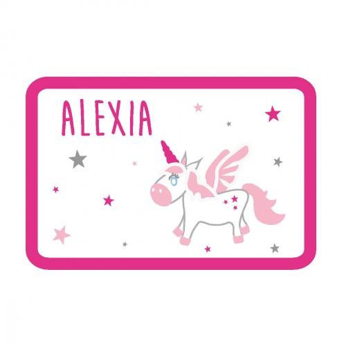 Sticker plaque de porte bébé licorne personnalisable