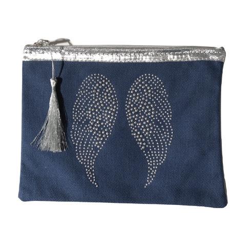 Pochette bleu marine ailes d'ange personnalisable