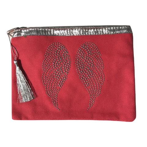 Pochette rouge ailes d'ange personnalisable