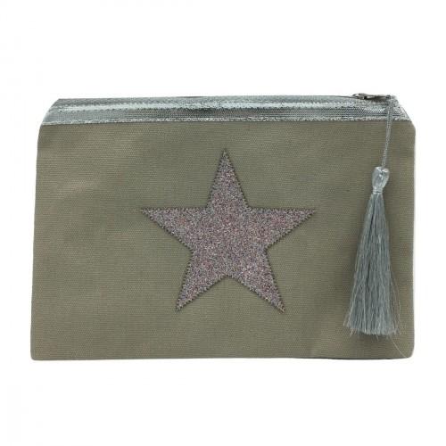 Pochette beige étoile multicolore personnalisable