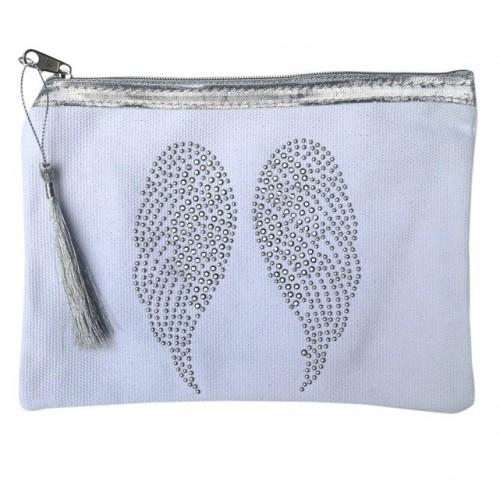 Pochette blanche ailes d'ange personnalisable