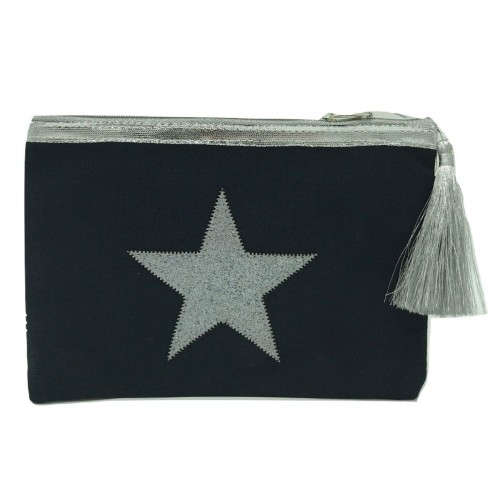 Pochette bleu marine étoile argent personnalisable