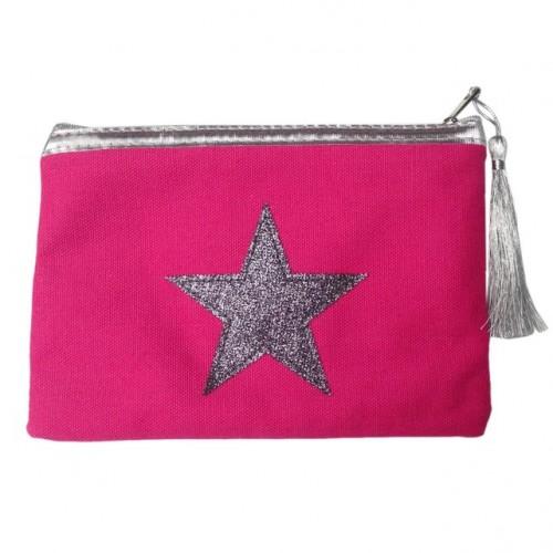 Pochette rose foncé étoile argentée personnalisable