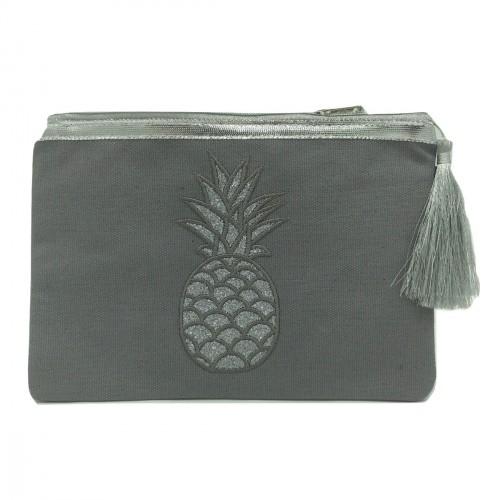 Pochette grise ananas pailleté argenté