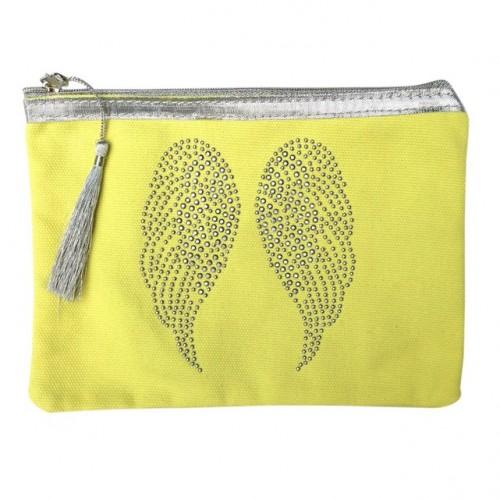 Pochette jaune ailes d'ange personnalisable