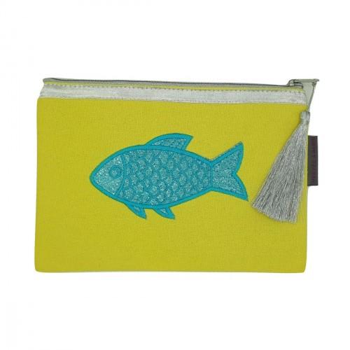 Pochette jaune poisson bleu