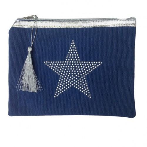 Pochette bleu marine étoile star personnalisable