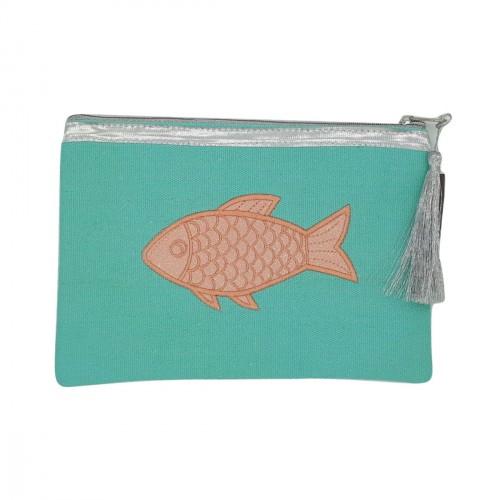 Pochette vert menthe poisson rose