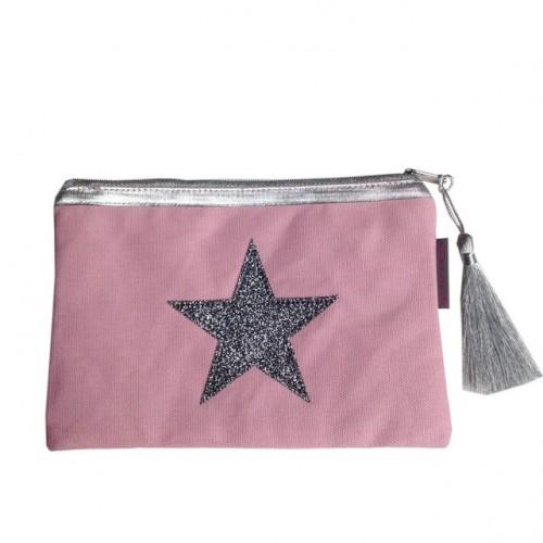 Pochette rose pâle étoile argentée personnalisable