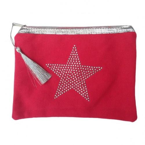 Pochette rouge étoile star personnalisable