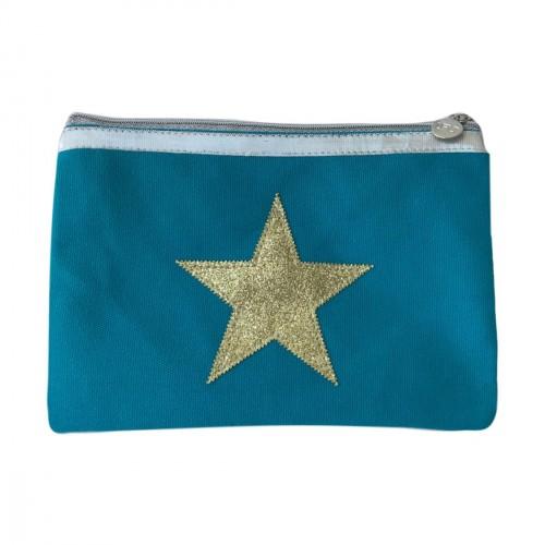 Pochette bleu turquoise étoile dorée personnalisable