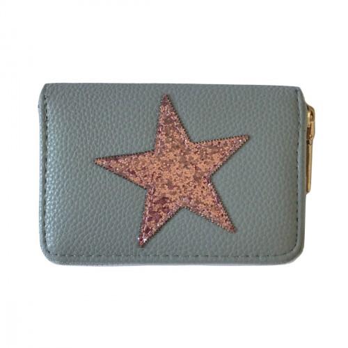 Porte-monnaie gris étoile pailletée rose
