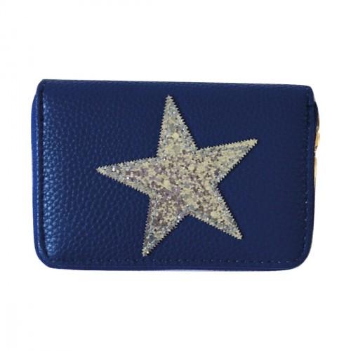 Porte-monnaie bleu étoile pailletée argentée