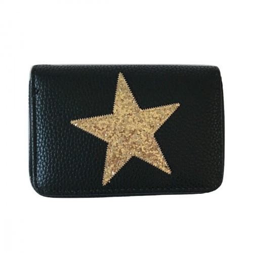 Porte-monnaie bleu étoile pailletée grise