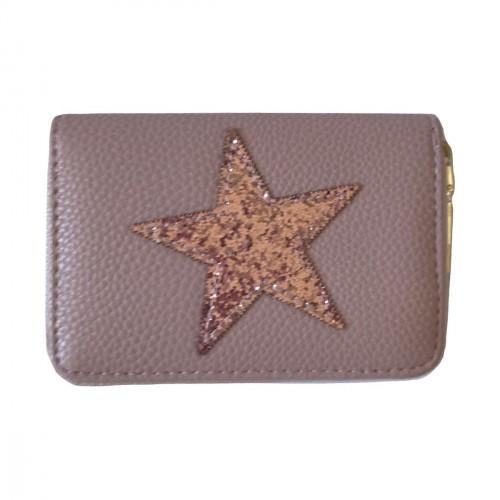 Porte-monnaie rose pâle étoile pailletée rose