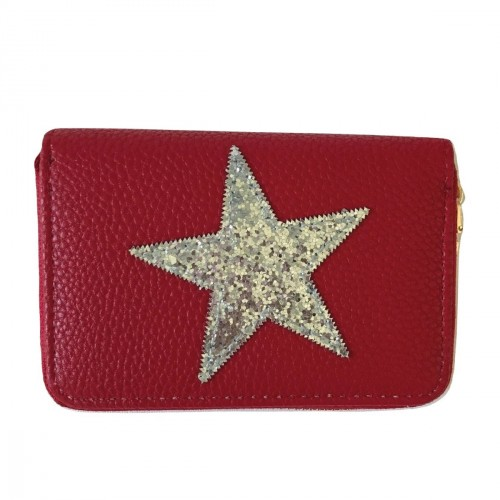 Porte-monnaie rouge étoile pailletée argentée