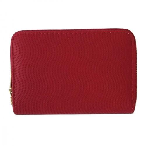 Porte-monnaie rouge en cuir