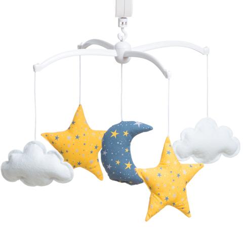 Mobile étoiles magiques bleu nuit et jaune