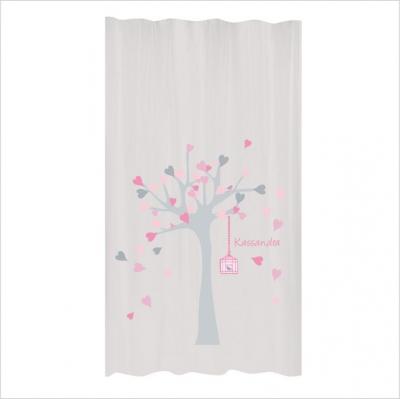 Rideaux arbre à coeurs ROSE GRIS | Lili Pouce : stickers, appliques ...