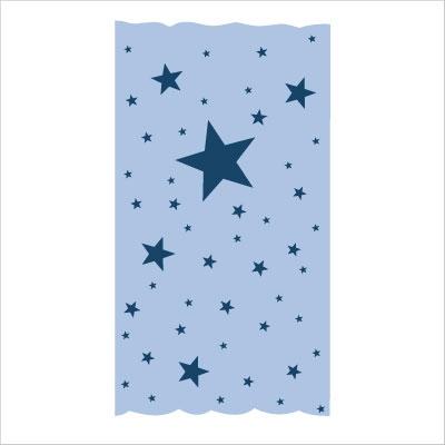 Rideau OSCAR  étoiles marines fond bleu ciel