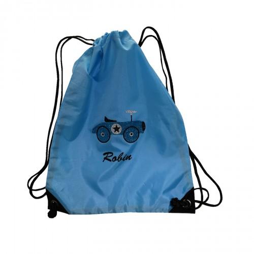 sac à dos voiture bleu pailleté personnalisable