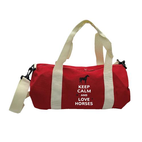 Sac de sport rouge keep calm love horses noir personnalisable