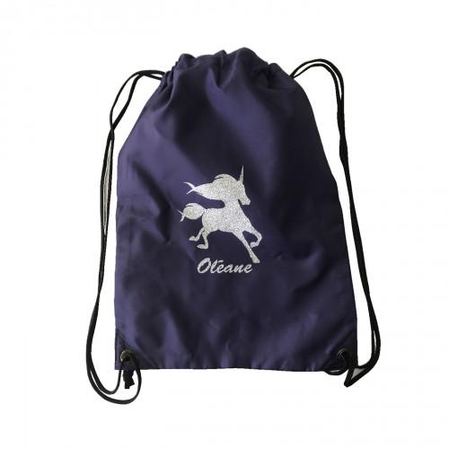 sac à dos licorne argent pailleté