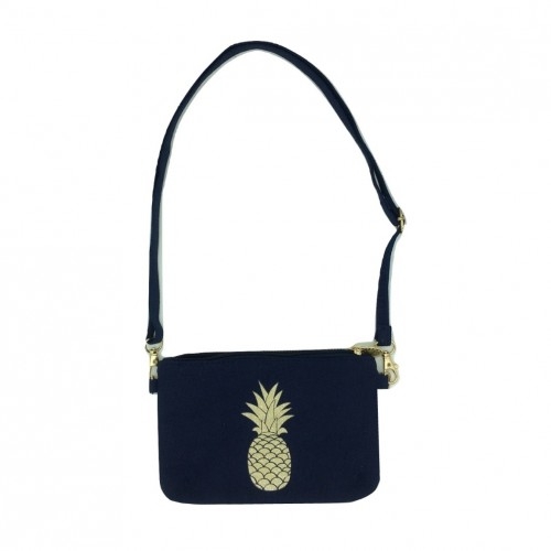 Sac doré marine bleu bandoulière ananas en Pouce à toile Lili 01AwqxC0