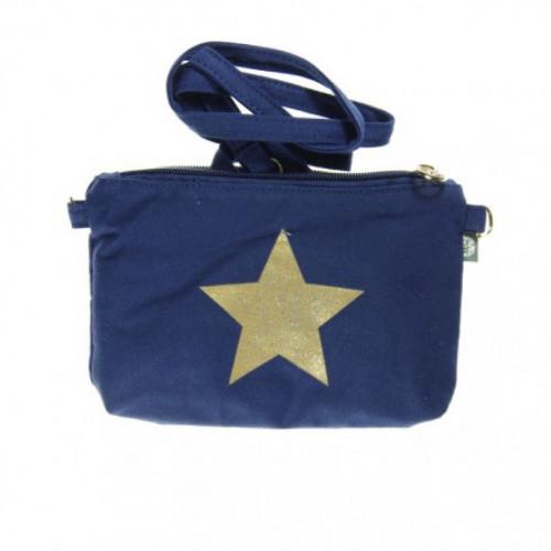 Sac à bandoulière bleue en toile étoile pailletée dorée
