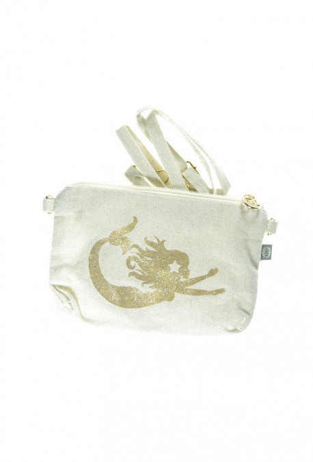 Sac à bandoulière sable blanc sirène pailletée dorée