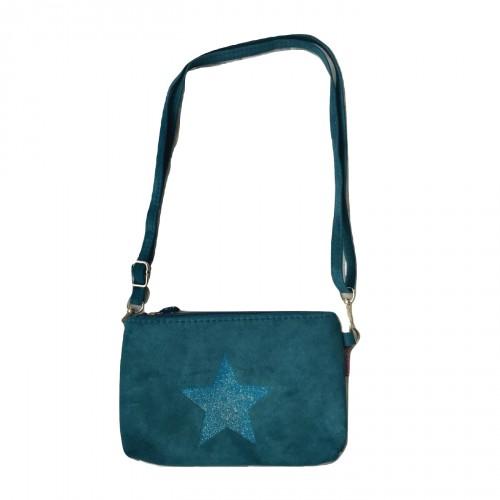 Sac bandoulière effet velours bleu turquoise étoile pailletée